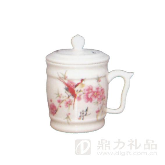 手绘水点桃花骨瓷单杯
